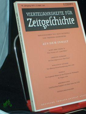 3/1971: Vierteljahreshefte für ZEITGESCHICHTE,