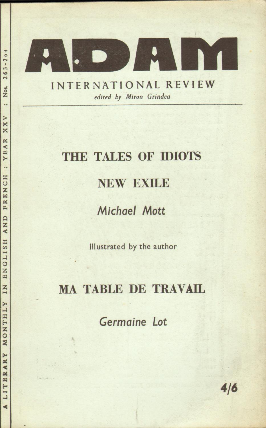 International Review. Year XXV. No. 263-264. The Tales of Idiots, New Exile - Michael Mott. ...