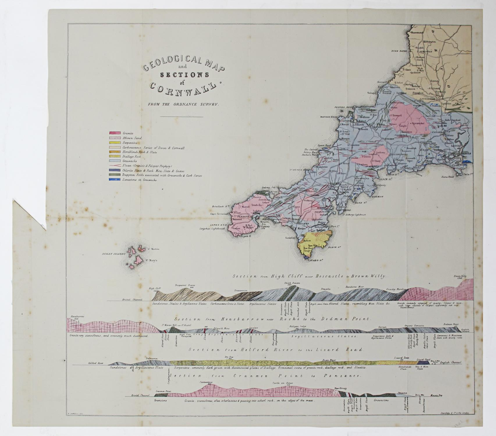 Sections Of London Map.Geological Map And Sections Of Cornwall From The Ordnance Survey