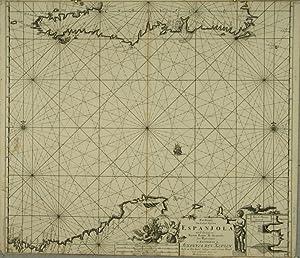 Pas-Kaart van de Zuyd-Kust van Espanjola met de Zee Kust van Nuevo Reyne de Granada .: KEULEN, ...