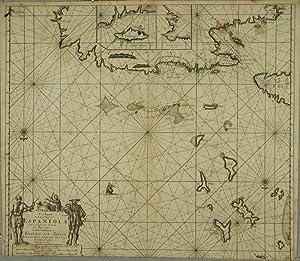Pas Kaart Van de Noord Kust van Espaniola met d'Eylanden door Benoorden: KEULEN, Johannes van.