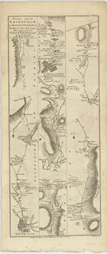 Roads From Edinburgh to Moffat & Dumfries by Peebles, & also by Linton, Miles measured from...