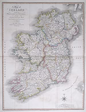 A Map of Ireland divided into Provinces and Counties, showing the Great and Cross Roads with the ...