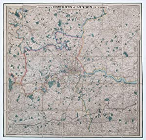 Cruchley's New and Improved Map of the Environs of London. Extending 30 miles from St Pauls On a ...