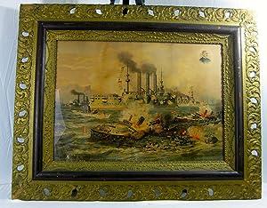 DESTRUCTION OF ADMIRAL CERVERA'S FLEET, AT SANTIAGO DE CUBA, JULY 3rd, 1898.: Spanish-American...