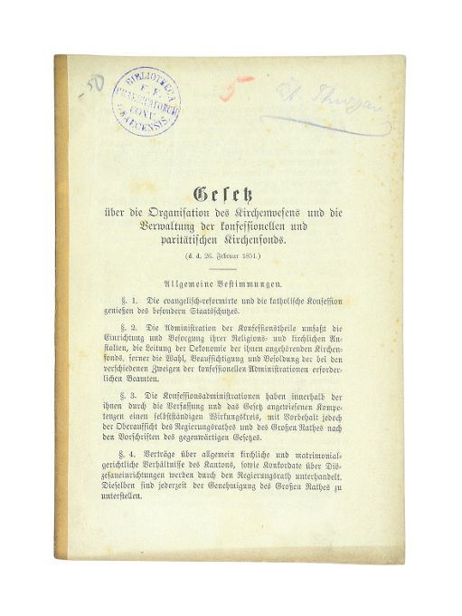 Gesetz über die Organisation des Kirchenwesens und: Kanton Thurgau].