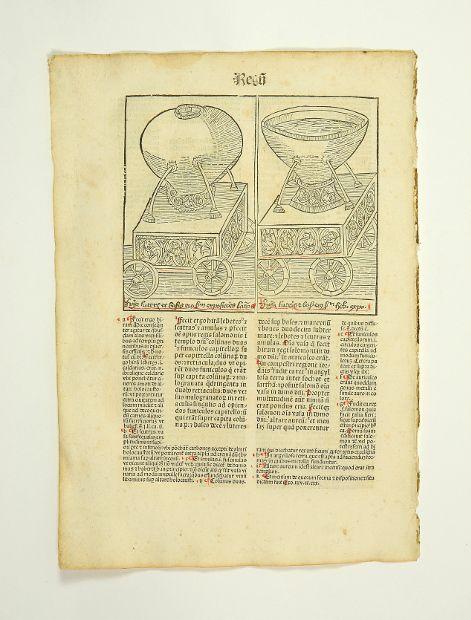 Einzelblatt mit 2 Textholzschnitten aus der Biblia: Inkunabelblatt - Biblia