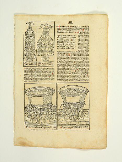 Einzelblatt mit 3 Textholzschnitten aus der Biblia: Inkunabelblatt - Biblia