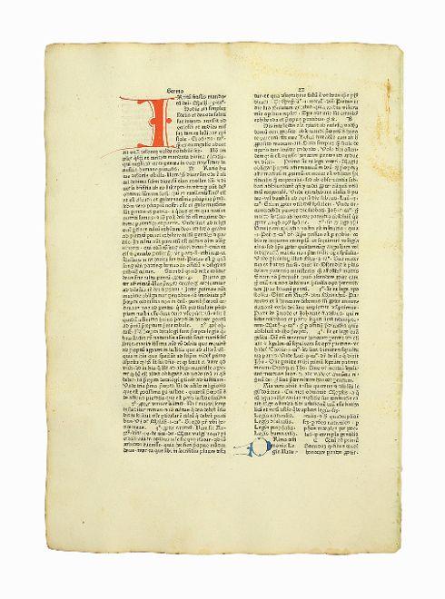 """Einzelblatt aus den """"Sermones quadragesimales de legibus"""": Inkunabelblatt - Leonardus"""