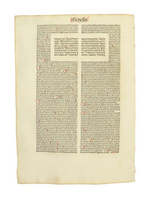 Einzelblatt aus dem Buch Genesis der Biblia: Inkunabelblatt - Biblia