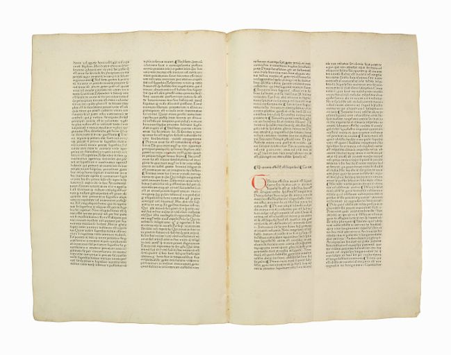 "Unzertrenntes Doppelblatt [Bifolium] aus ""Pantheologia, sive Summa: Inkunabelblatt - Rainerius"