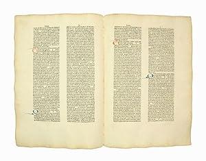 "Unzertrenntes Doppelblatt [Bifolium] aus den ""Sermones quadragesimales: Inkunabelblatt - Leonardus"