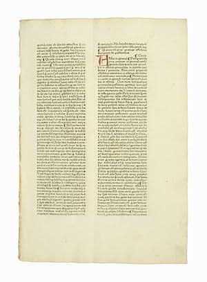 "Einzelblatt aus  Pantheologia, sive Summa universae theologiae"": Inkunabelblatt - Rainerius"