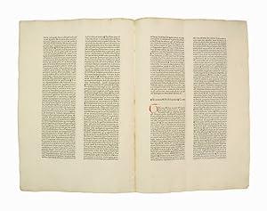 Unzertrenntes Doppelblatt [Bifolium] aus  Pantheologia, sive Summa: Inkunabelblatt - Rainerius