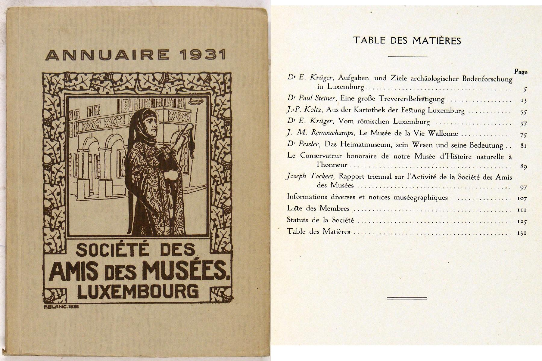 Annuaire 1931 Societe Des Amis Musees Luxemburg Museen