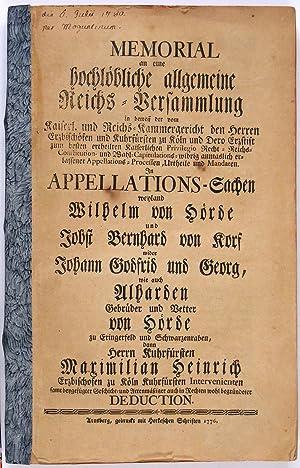 Memorial an eine hochlöbliche allgemeine Reichs-Versammlung in: Dortmund-] Hörde -