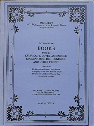 Sale 22/23 1978: Catalogue of Books from: SOTHEBY'S - LONDON.