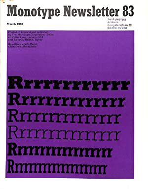 Monotype Newsletter 83, March 1968: Basle School: THE MONOTYPE CORPORATION