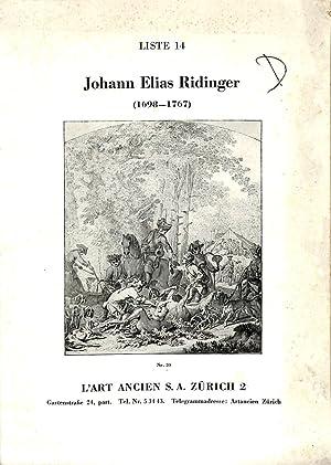 Liste 14/nd.: Johannes Elias Ridinger (1698-1767).: ART ANCIEN -