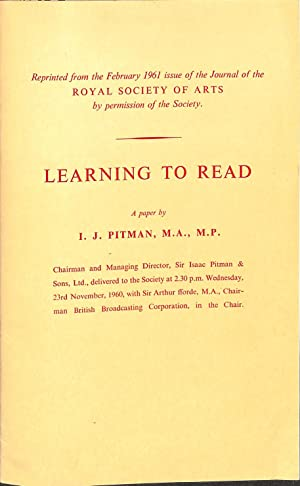 Learning to Read: An Experiment. A Paper: PITMAN I.J.