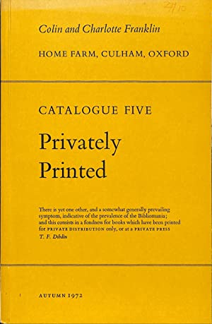 Catalogue 5/1972: Privately printed. Part One.: FRANKLIN, COLIN &