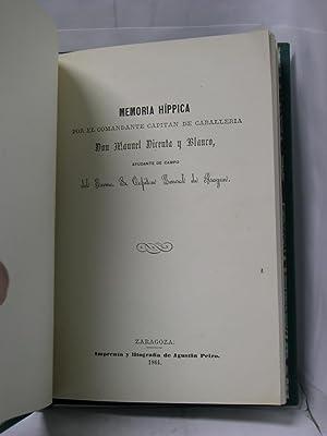 FOMENTO DE LA CRIA CABALLAR ( MEMORIA HIPPICA ): Dicenta y Blanco, Manuel