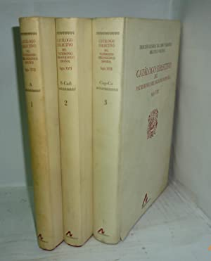 CATALOGO COLECTIVO DEL PATRIMONIO BIBLIOGRAFICO ESPAÑOL ( 3 VOLÚMENES) A / B - ...
