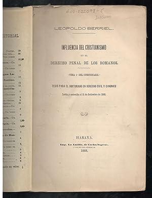 INFLUENCIA DEL CRISTIANISMO EN EL DERECHO PENAL: BERRIEL, LEOPOLDO