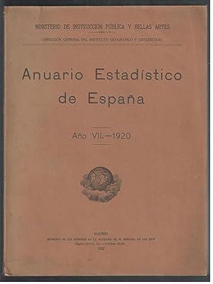 ANUARIO ESTADISTICO DE ESPAÑA, AÑO VII-1920: VV.AA.; MINISTERIO DE