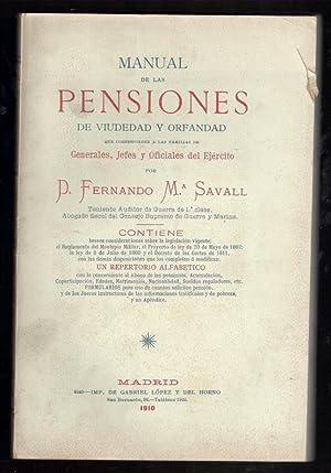 MANUAL DE LAS PENSIONES DE VIUDEDAD Y ORFANDAD QUE CORRESPONDEN A LAS FAMILIAS DE GENERALES, JEFES ...