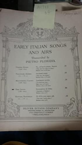 Early Italian songs and airs; Invocazione di Orfeo ; / Jacopo Peri.: edited by Pietro Floridia.