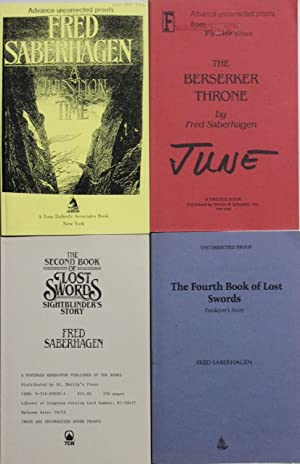 Five uncorrected proofs. A Question of Time The Berserker Throne The Second Book of Lost Swords T...
