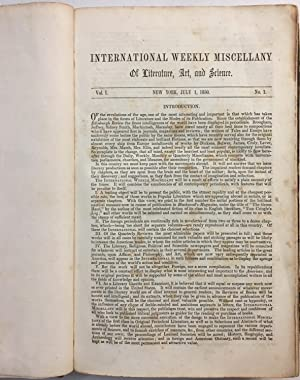 International Weekly Miscellany of Literature, Art, and Science, Vol. I. New York, July 1, 1850. ...