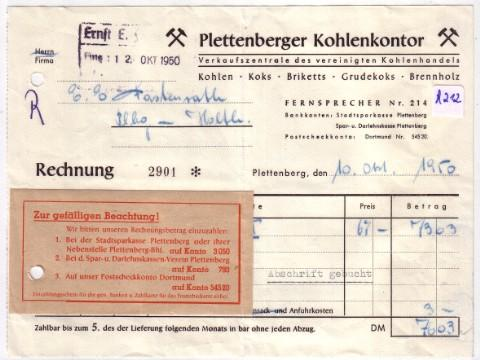 rechnung plettenberger kohlenkontor plettenberg 1950 anbei. Black Bedroom Furniture Sets. Home Design Ideas