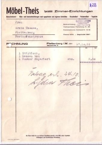 Rechnung Möbel Theis Plettenberg Spezialität Zimmer Einrichtungen