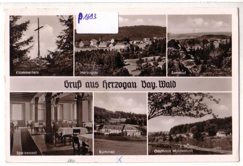 AK Gruß aus Herzogau Bayrischer Wald Mehrbildkarte Gasthaus Waldeslust 1959 gelaufen