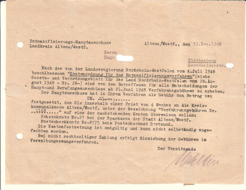 Offizielles Schreiben Entnazifizierungs Hauptausschuss Von Landkreis