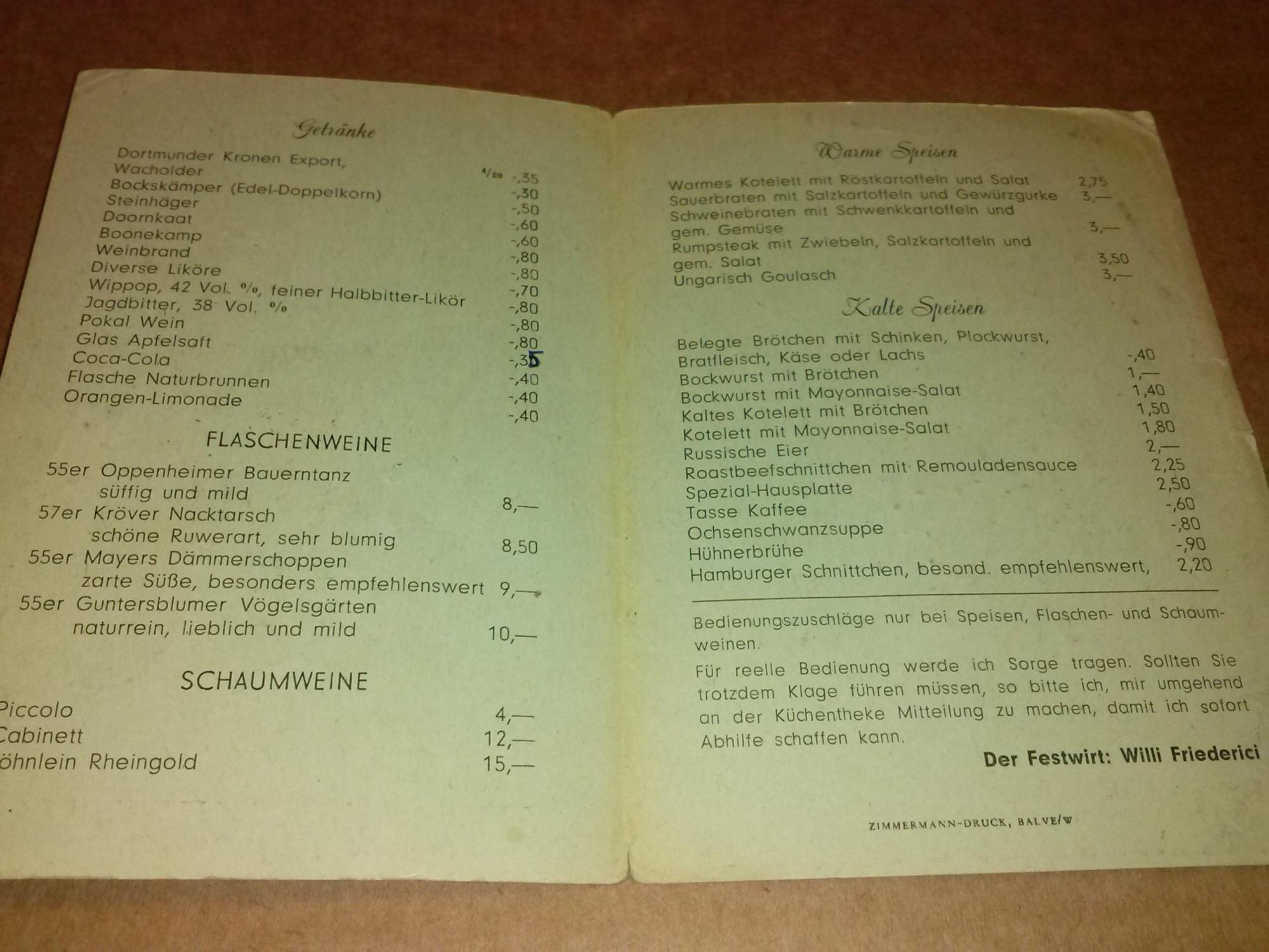 Schützenfest Garbeck 1958 - Getränke- und Speisenkarte - Festwirt ...