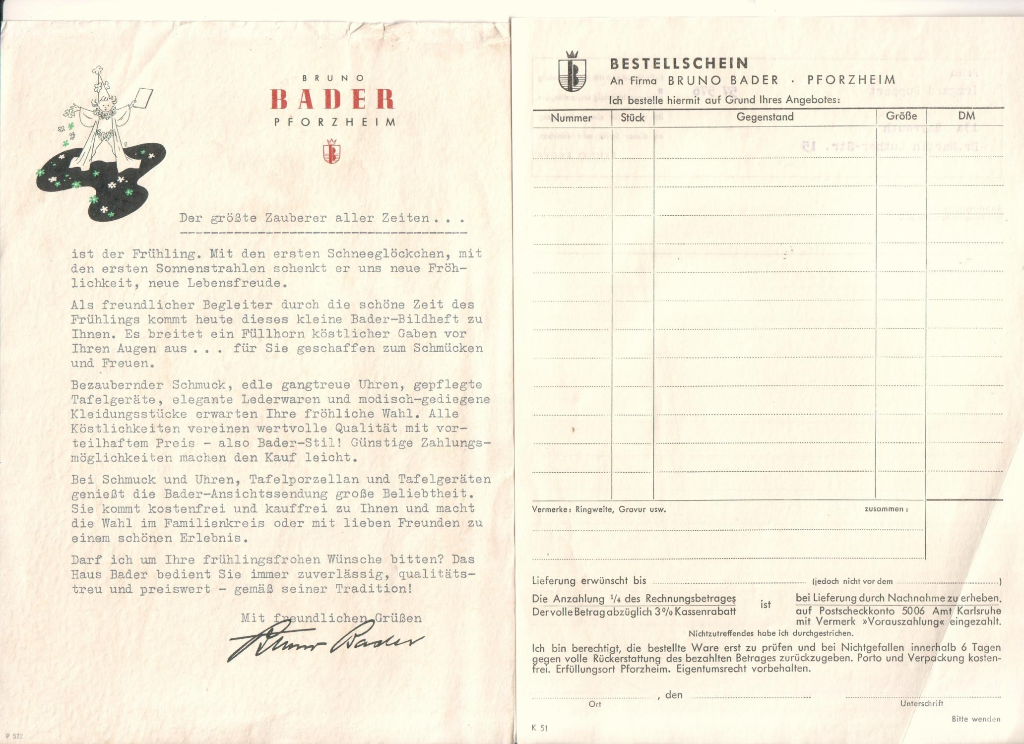 9e73d29d5a Konvolut der Firma Bruno Bader aus Pforzheim.: Bruno Bader Pforzheim