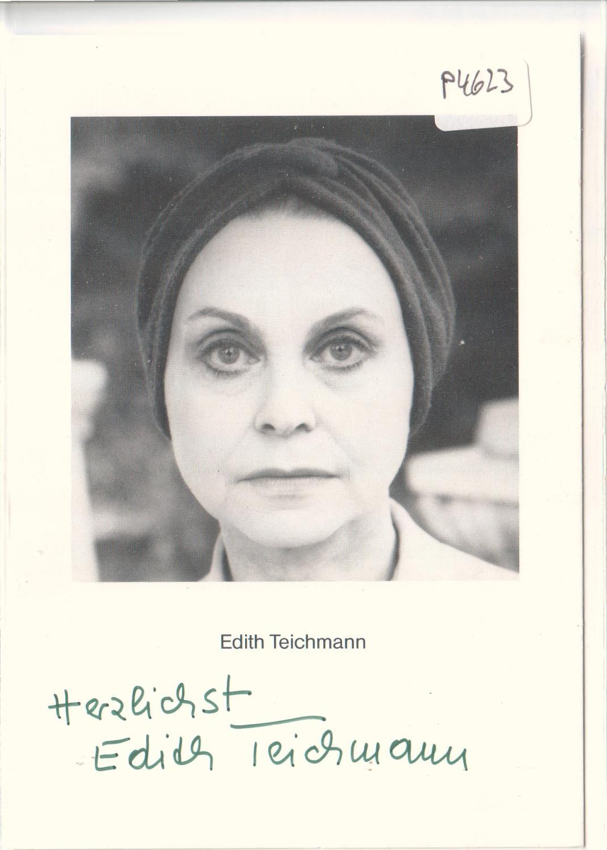 Autogrammkarte Edith Teichmann signiert, umseitig