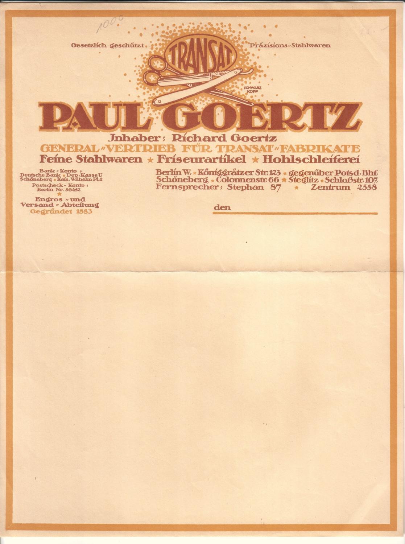 Rechnung oder Schreiben (BLANKO) Paul Goertz Inhaber: Richard Goertz ...