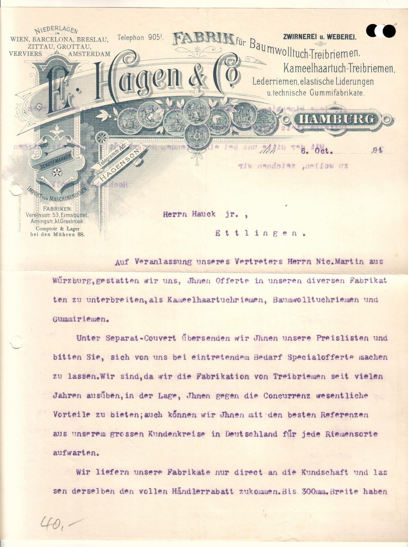Schreiben der Firma E. Hagen & Co. aus Hamburg. Zwirnerei und ...