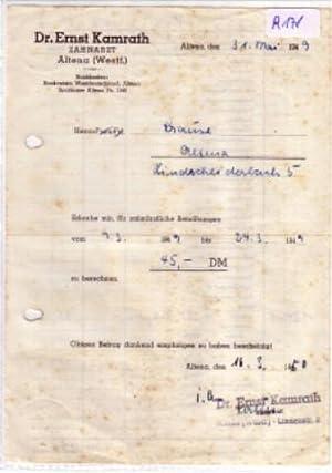 rechnung dr ernst kamrath zahnarzt altena ausgestellt 31 mai 1949 von dr ernst kamrath. Black Bedroom Furniture Sets. Home Design Ideas