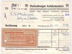 rechnung plettenberger kohlenkontor plettenberg 1950 anbei kl zettel zur gef lligen beachtung. Black Bedroom Furniture Sets. Home Design Ideas