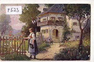 Ansichtskarte Postkarte Im Blumengarten / A viragkerlben: ohne