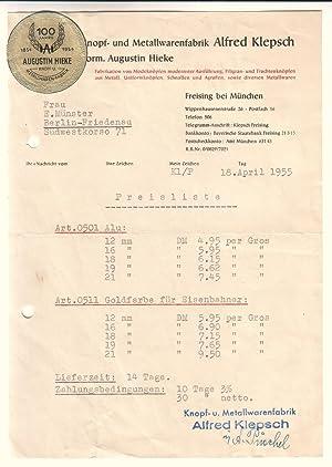 Preisliste/Schreiben der Firma Knopf- und Metallwarenfabrik Alfred ...