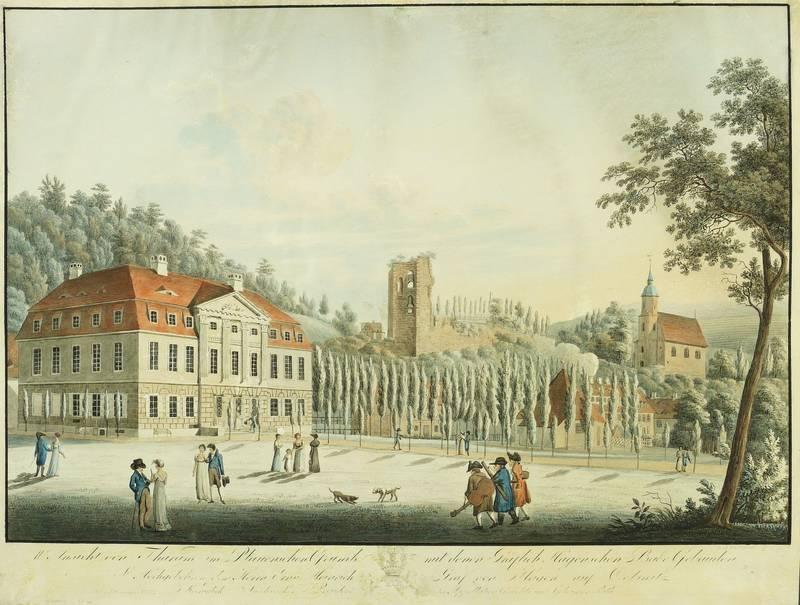 """Tharandt. - Burgruine & Badehäuser. - Johann Friedrich Bruder. - """"II. Ansicht von ..."""