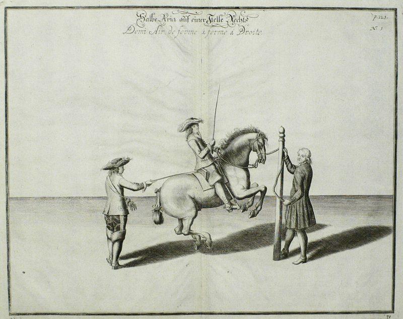 """Reitschule. - William Cavendish. - """"Halbe Aria auf einer Stelle Rechts"""".: William ..."""