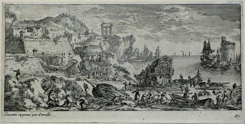 """Perelle, Adam. - """"Hafen mit Schiffsbauern""""."""