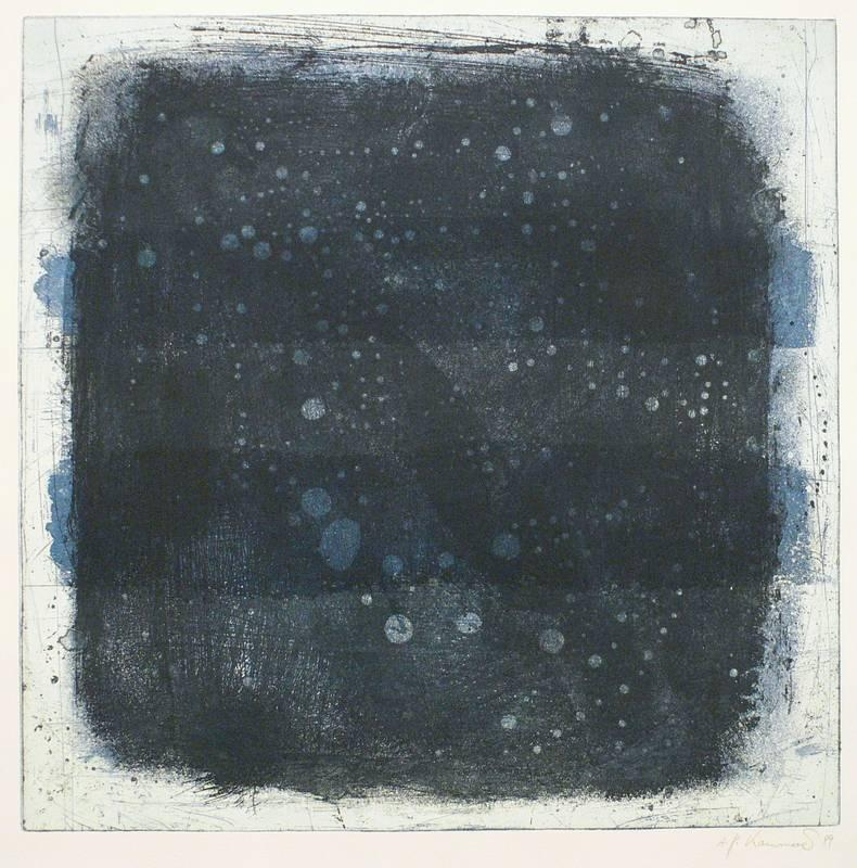 Kammerer, Anton Paul. - Tropfen auf blauem Quadrat.